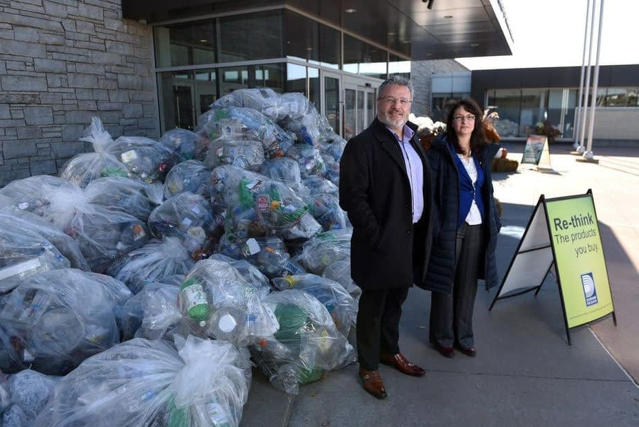 , Mound of single-use plastics at Durham headquarters illustrates usage of recyclable products, TheCircularEconomy.com