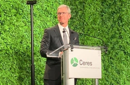 , Tim Cook Promotes Sustainability at Ceres Gala in New York City, TheCircularEconomy.com