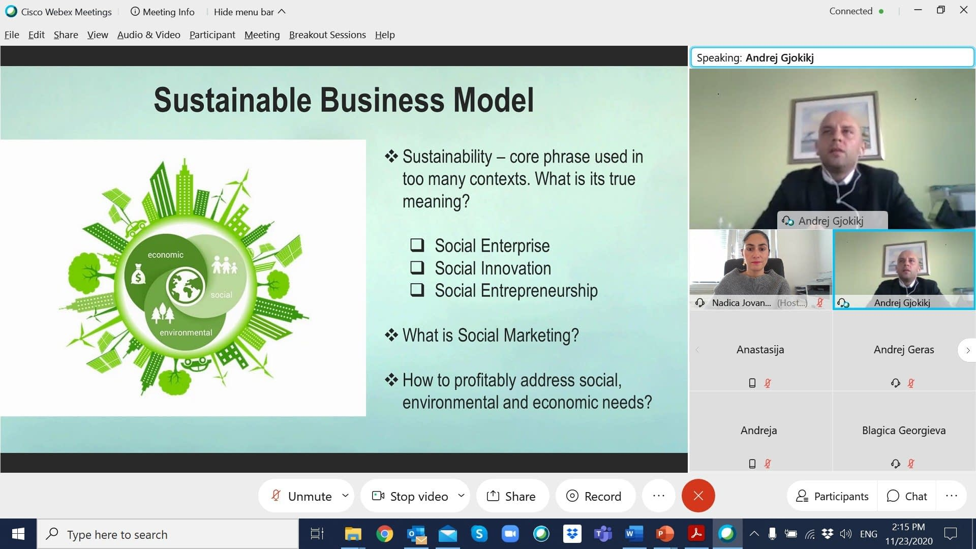 , Guest lecture on Sustainability, Social Marketing and PR experiences, held by Andrej Gjokikj, CEO at Sunilens, TheCircularEconomy.com
